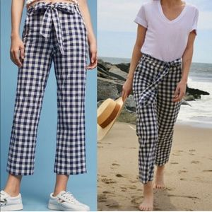 Anthropologie Gingham Cropped Pants